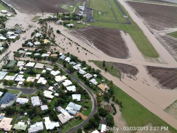 Homes and many crops were inundated when the Myall Creek flooded in Dalby.