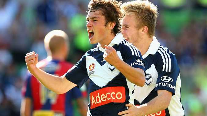 Marco Rojas of the Victory celebrates scoring a goal during the round 23 A-League match between the Melbourne Victory and the Newcastle Jets at AAMI Park on March 3, 2013 in Melbourne, Australia.