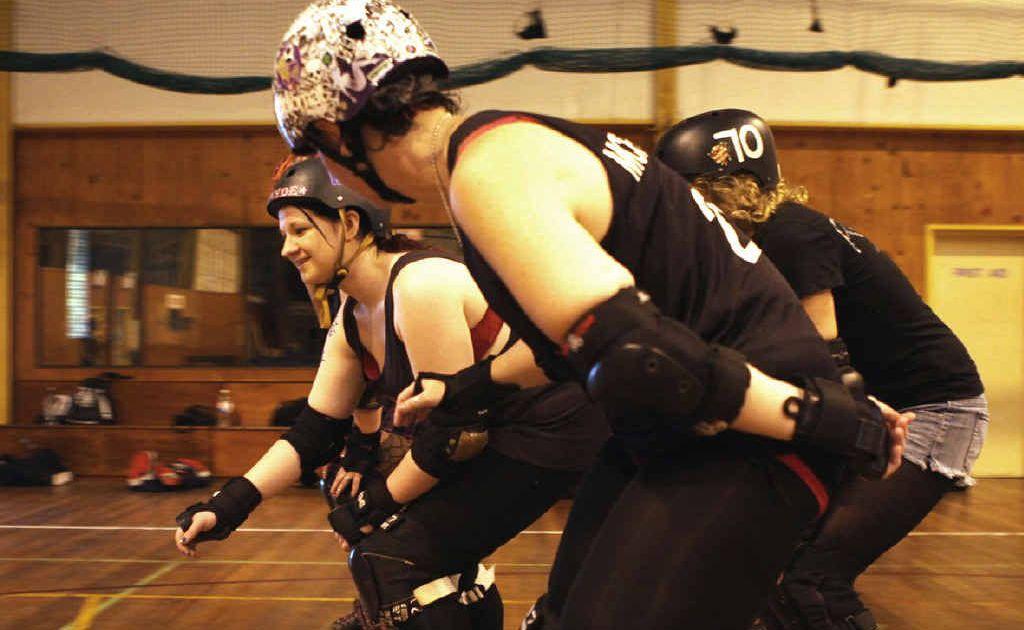 Members of Cap Coast Derby Dolls training on Sunday.