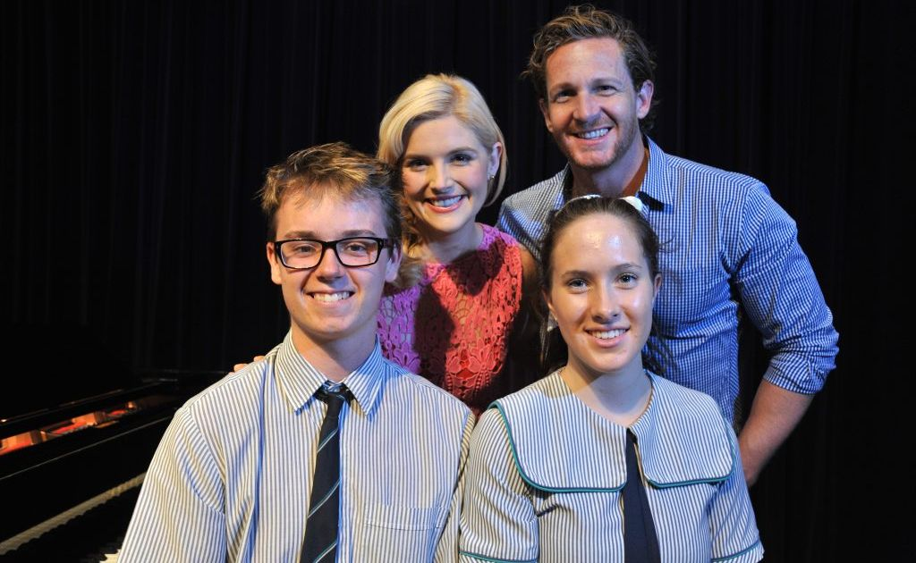 Stars of Legally Blonde the Musical, Lucy Durack and David Harris, with students and aspiring actors and Year 12 students Kurtis Laing, 17, and Jordan Russell, 16, at Matthew Flinders Anglican College Performance Arts Centre, Buderim.