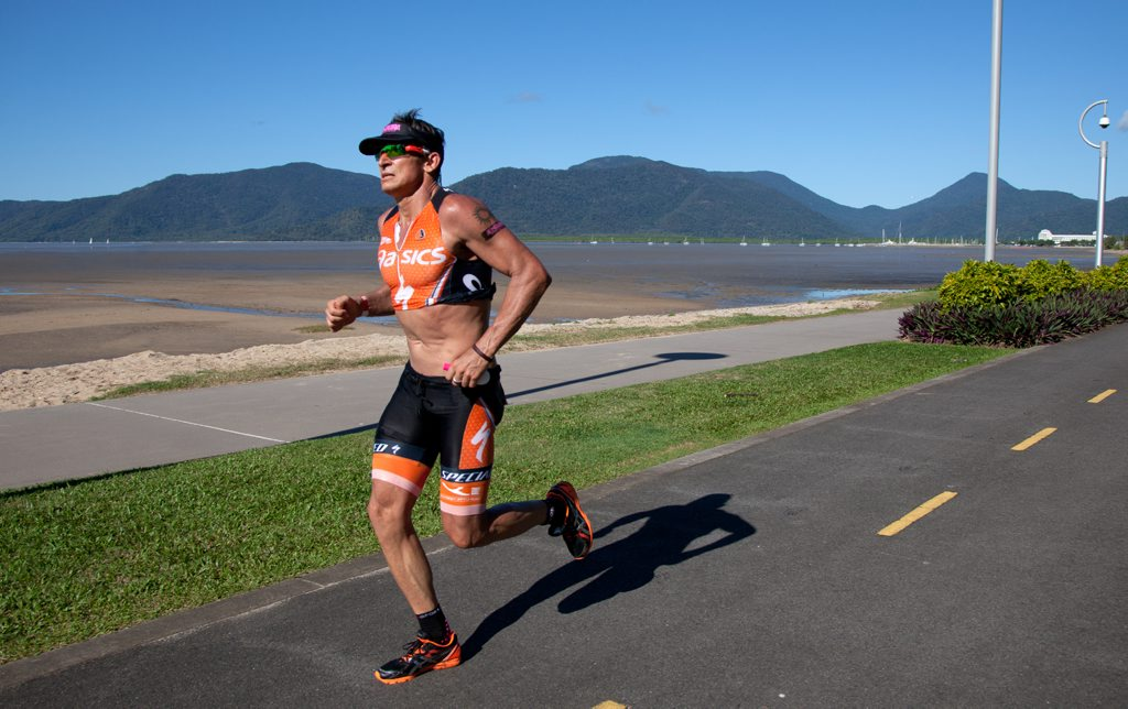 Competitors slog it out in the tropical heat during the Cairns Airport Ironman.
