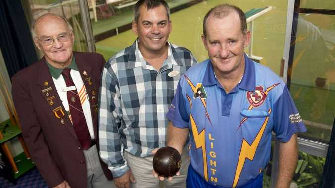 Bowls award winner Peter Thompson (right) with DDBA treasurer Doug Young (left) and Brad Zischke from John O'Brien Toyota Gatton.