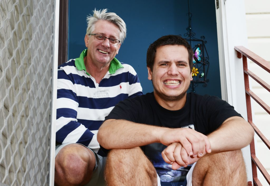 Nicolas Hubert is working towards living independently with the help of Carer Terry Scott (in blue and white stripped top) from Ballina District Comunity Services Association (BDCSA). Pictured at Nicolas's Alstonville home. Photo Patrick Gorbunovs / The Northern Star
