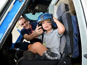 Angus thanks his favourite 'red and blue' helicopter