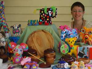 Beautiful handcrafts on sale in historic hall