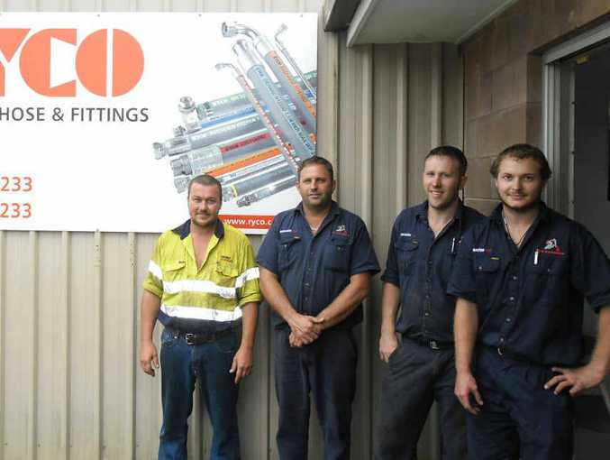 Fitters Brendan Brosnan, Greg Watson, Wayde Cleary and Matt Delisser at Suncoast Hydraulics.