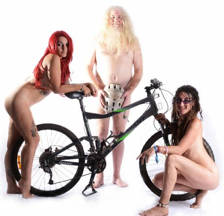 GOOD NUDES WEEK: Gearing up and gearing off for The Naked Bike Ride, Rad Anomina, James Fuller and Tracey Lewis, all of Nimbin.