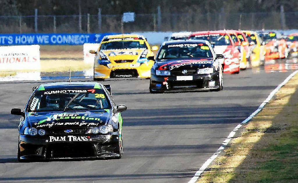 Mackay driver Morgan Haber leads the field during a race in the Dunlop Series.