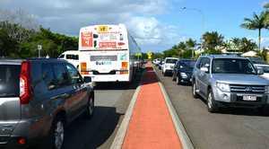 SNARLS: Traffic near schools and the university yesterday.