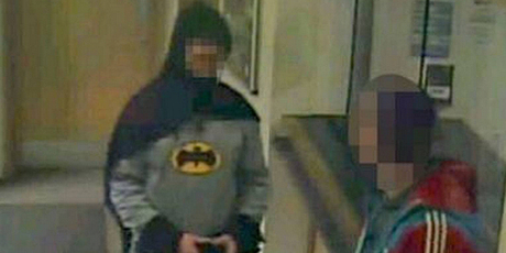 'Batman' delivers a suspect in the UK city of Bradford.