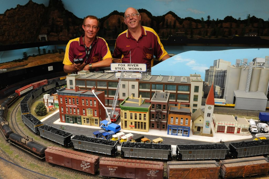 CHOO CHOO: Bundaberg Model Railway Club president Chris Pashley and life member Wayne Boys are encouraging visitors to attend the open day this weekend.