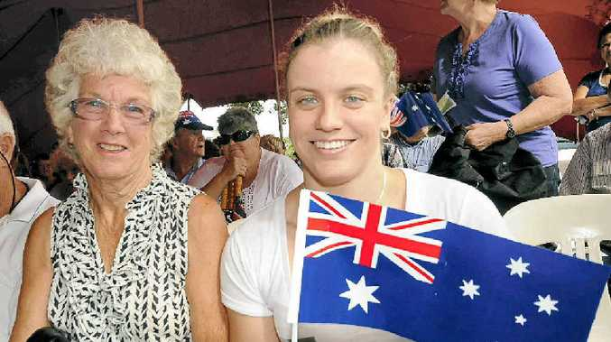 BIG WET: Enjoying a damp Australia Day in Alstonville were Margaret Freney and her granddaughter Jacqueline Freney.