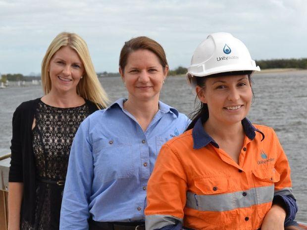 Unitywater's Environment Affairs team, Dr Sandra O'Sullivan, Kylie Crouch and Emma Newton.