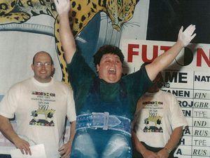 Katrina Robertson celebrates after winning the 1997 world powerlifting championships.