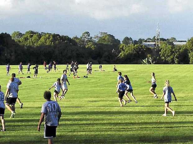 THIS image of people playing on Hepburn Oval was sent to us by Terry Stormon of Goonellabah.