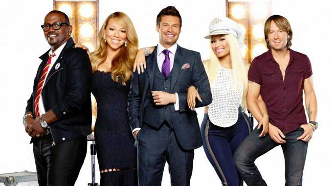 American Idol judges, from left, Randy Jackson, Mariah Carey, host Ryan Seacrest, Nicki Minaj and Keith Urban.