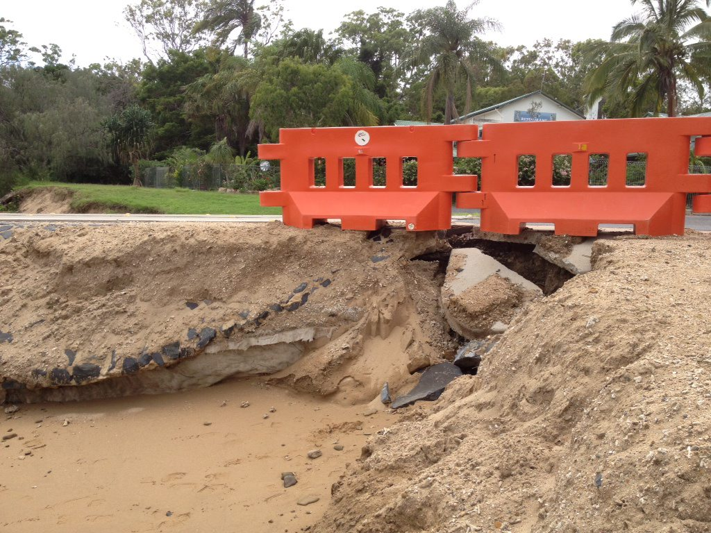 Erosion has eaten away the sand under the new Gatakers Bay boat ramp at Point Vernon.