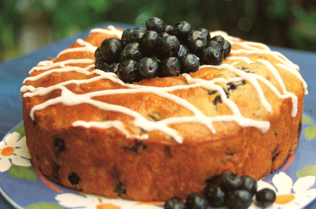 Tangy blueberry cake.