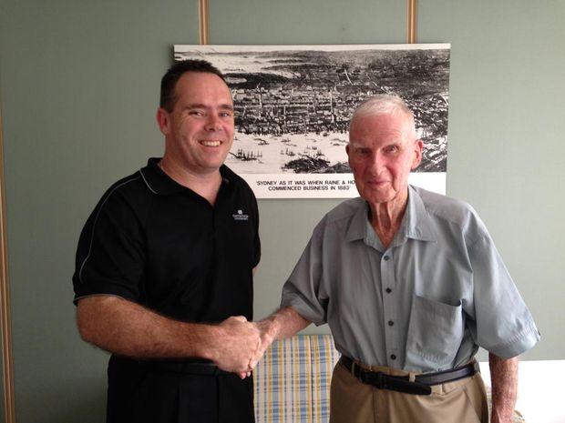 Brian Navin with Show Society Treasurer Mark Foster.
