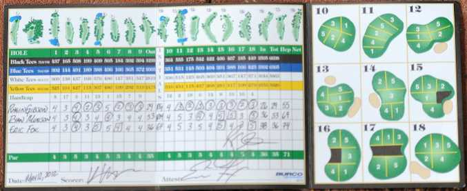 Rhein Gibson's score card from his record-setting round at Okahama.