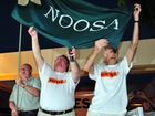 Noel Playford , Member for Noosa Glen Elmes and Friends of Noosa President Bob Ansett celebrate the de-amalgamation victory with hundreds of supporters outside Council Chambers.