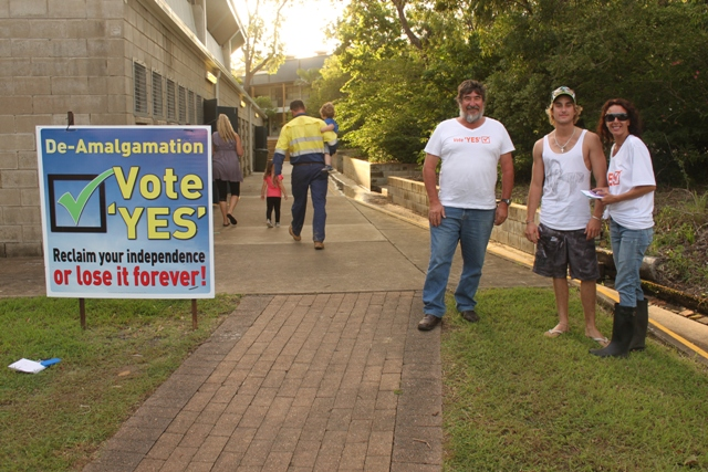 Glen Alexander, Adam Cooper and Helen DePalma Day, all from Yeppoon, voted Yes in the ballot to de-amalgamate Livingstone Shire.