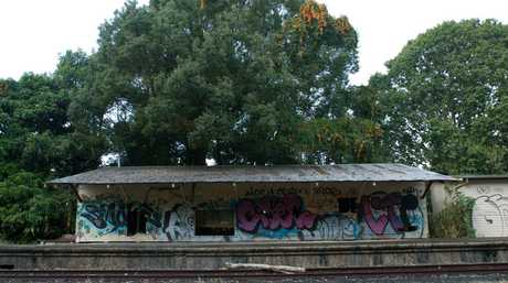 Bangalow train station in a state of disrepair.