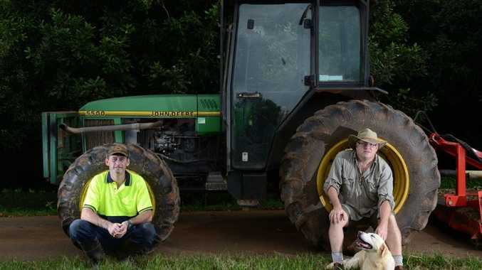 Daniel Munro (left) Andrew Starkey with Paris the dog at Brooklet Farm. Photo Patrick Gorbunovs / The Northern Star