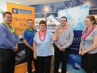 Fraser Coast Chronicle general manager Darren Bosley, Royal Caribbean's Rob Shaw and  cruise winner Barbara Dowling with Tim Tripptree and Jessica Amos from Cruise About Hervey Bay.