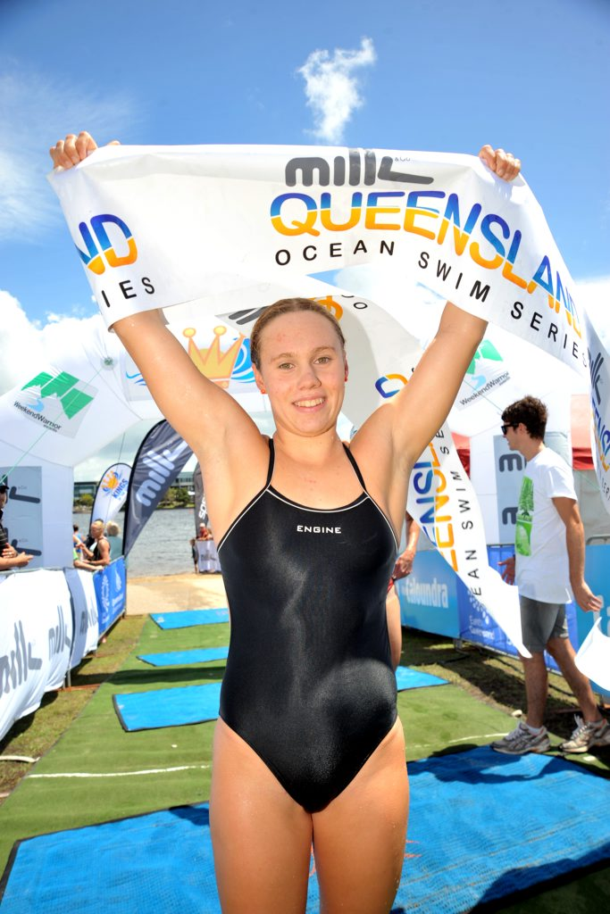 Chelsea Gubecka, winner of the 3.8km race at the Kings of The Coast races, Lake Kawana.