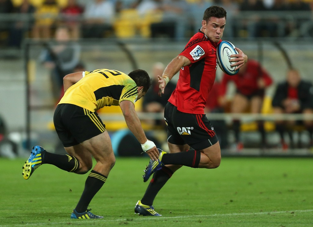 Ryan Cotty of the Crusaders in action during the round four Super Rugby match between the Hurricanes and the Crusaders at Wellington Regional Stadium on March 8, 2013 in Wellington, New Zealand.