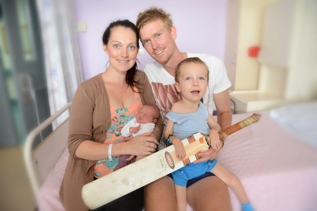 Celia Knight with new bub Soraya and cricketing dad Josh Brady and William.