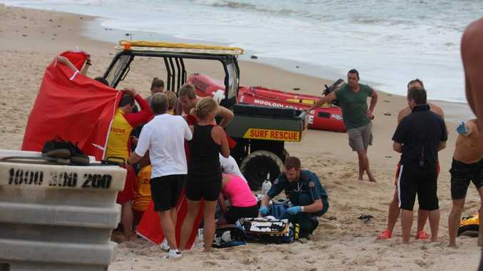 A man was pulled from the water and resuscitated by lifesavers on Mooloolaba Beach.