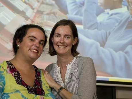 Gemma Sisia (left) from the School of St Jude vists Mater Dei Primary School teacher Katie Mills.