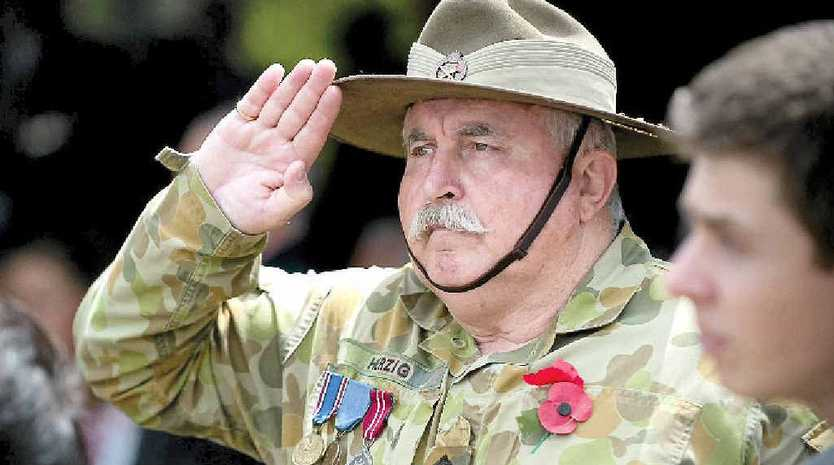 Capt Rys Herzig at a Remembrance Day service in Woolgoolga in 2011.
