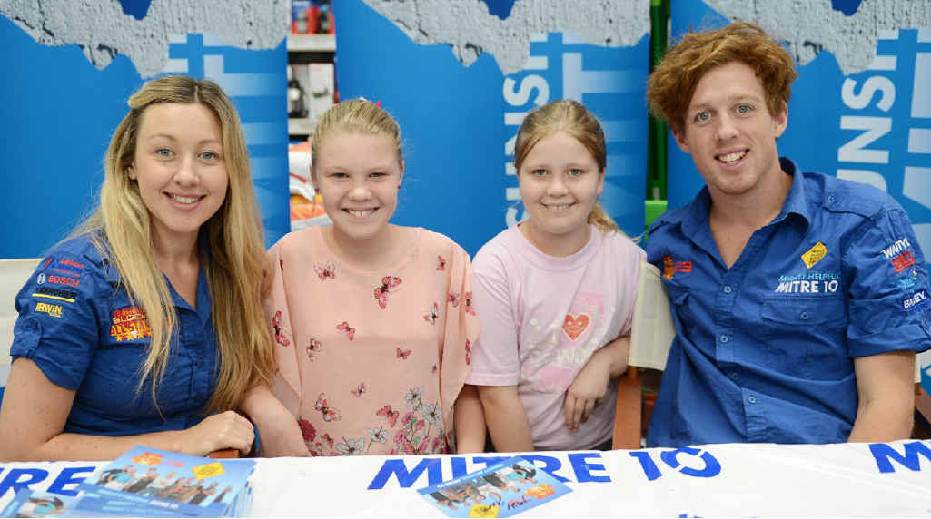 Rebecca and Victoria O'Neill had their picture taken with Josh and Jenna from The Block at Sunshine Mitre10 in Gympie on Sunday.