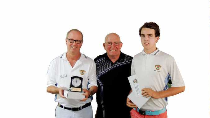 GOOD GOLF: Celebrating after an enjoyable day of competition at Iluka Golf Club are, from left, Northern Rivers District Golf Association president Ian Armour, Jim Cazalet (Iluka captain) and Championship gross winner Matt McLean, who teamed up with Nathan Streckfuss to take the A-grade title.