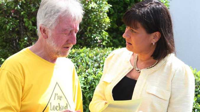 Lock the Gate's Michael McNamara and Richmond MP Justine Elliott pictured in March, 2013.