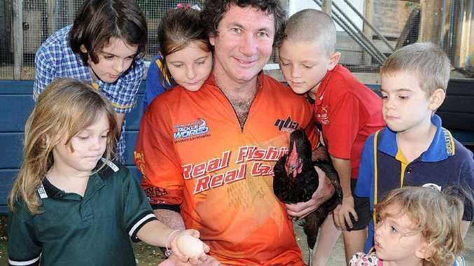Craig Slattery with children (left to right) Jacinta Jarvis, Shae Grambower, Teagan Slattery, Kaleb Jarvis, Ethan Grambower and Indianna Jarvis.