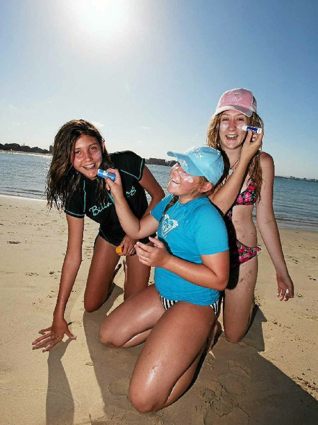 SUN FACT: One in four Aussies are Vitamin D deficient. Rozan Huskisson, Georgia and Camilla Meise keep safe in the sun.