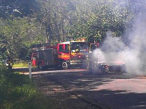 Man suffers burns as car goes up in flames at Diamond Valley