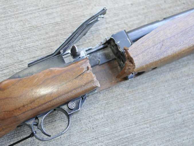 A destroyed firearm.