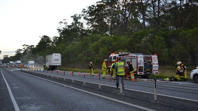 The scene at Tabbimoble this morning where a truck has caught fire and exploded.