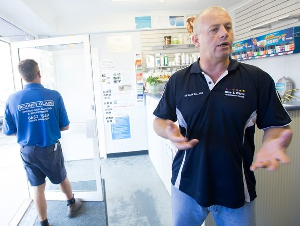 Mark Kallman of Coffs Harbour's Blue and White Veterinary Clinic ponders the motive of the break-in.
