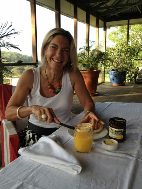 Bunnyconnellen owner Janie Simmonds spreads some of the vineyard's award-winning marmalade on toast.
