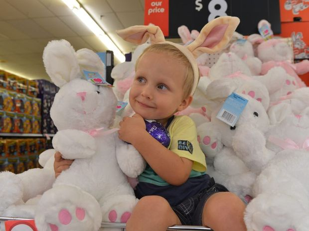 Ricky Rowland with an Easter bunny and egg at Kmart Mount Pleasant.