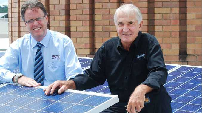 ALTERNATIVE POWER: Lismore Workers Club HR manager Murray Kirshaw and president Richard Mackney with the new solar panels.
