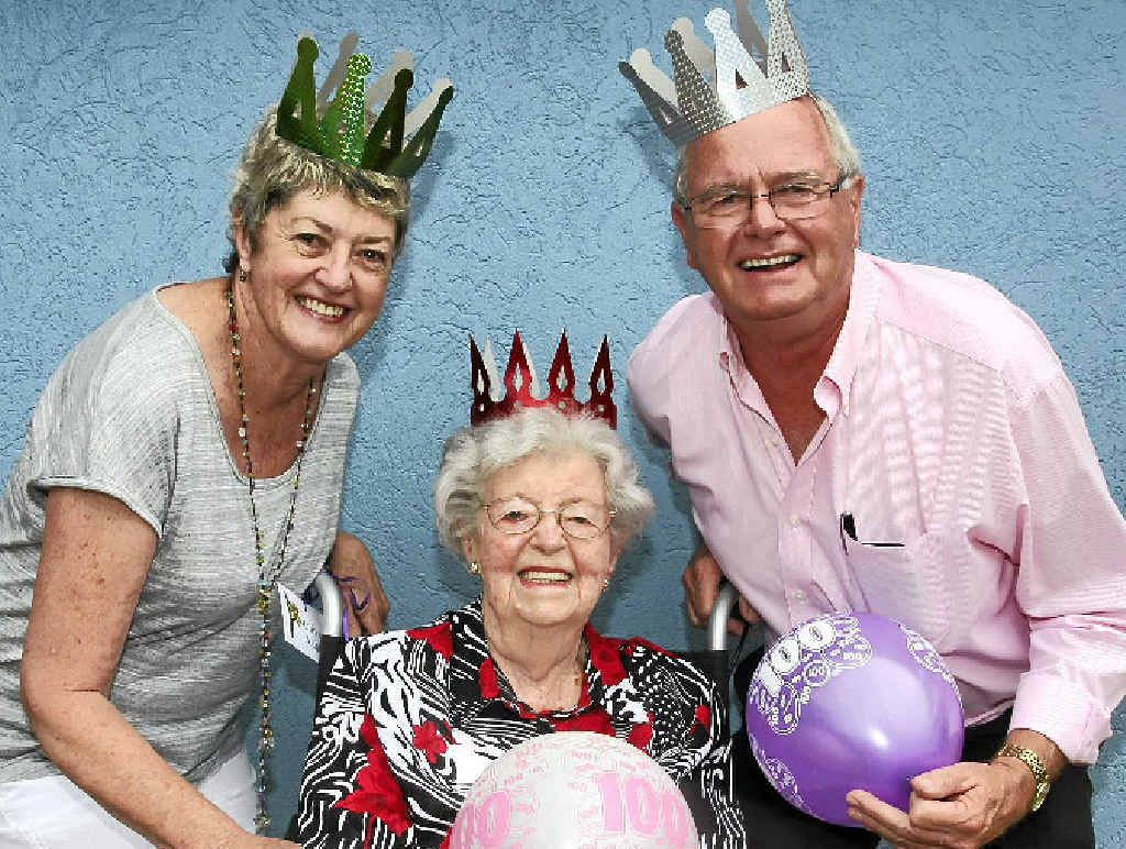 BIG DAY TOMORROW: Buderim's Olive Ashby will celebrate her 100th birthday with family and friends, including daughter Lorelle Flanagan and son Barry Ashby.