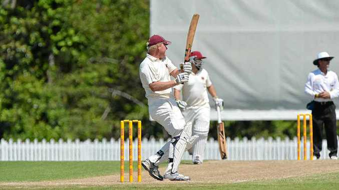 QUICK RUNS: Caboolture's Luke Schmelzkopf goes on the attack against Gympie yesterday after the early loss of two wickets.