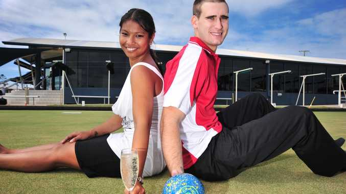 Samedi Stark and Sam Cumerford from Club Central Caloundra help promote a bowls speed dating day to help locals find love.
